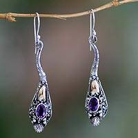 Gold accent amethyst earrings, 'Dragon Queen' - Gold accent amethyst earrings