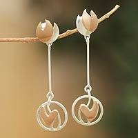 Sterling silver dangle earrings, 'Inner Flame' - Peru Artisan Crafted Silver Earrings with Copper Accents