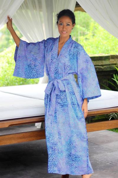 Cotton batik robe, 'Rushing River' - Women's Batik Cotton Robe