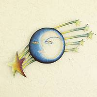 Steel wall art, 'Cosmic Consciousness' - Fair Trade Sun and Moon Steel Yellow and Blue Wall Art