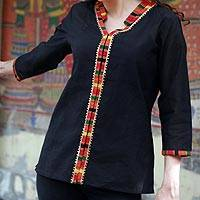 Cotton blouse, 'Midnight Jewel' - Women's Cotton Embroidered Blouse Top