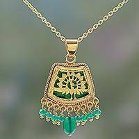 Gold plated onyx pendant necklace, 'Golden Peacock' - Hand Made Gold Sterling Silver Onyx Pendant Necklace India