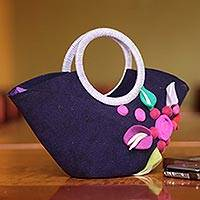 Wool handle handbag, 'Andean Purple' - Unique Floral Wool Handbag