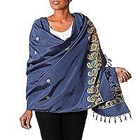 Silk shawl, 'Regal Paisley' - Hand Woven Silk Shawl in Deep Blue and Gold from India