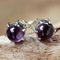 Amethyst stud earrings, 'To the Point' - Sterling Silver and Amethyst Stud Earrings from Thailand
