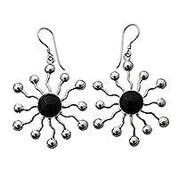 Onyx dangle earrings, 'Black Stars' - Indonesian Onyx Sterling Silver Dangle Earrings