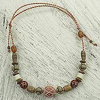Ceramic and wood beaded necklace, 'Prosperity Link' - Artisan Crafted Sese Wood and Terracotta Beaded Necklace