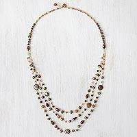 Cultured pearl and quartz beaded necklace, 'Graceful Partygoer' - Cultured Pearl and Quartz Beaded Necklace from Thailand