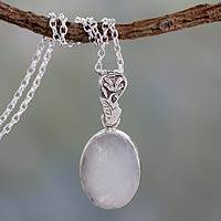 Rainbow moonstone pendant necklace, 'Radiant Facets' - Artisan Made Silver and Rainbow Moonstone Necklace