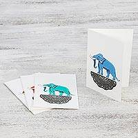 Hand painted greeting cards, 'Good Luck Elephants' (set of 4) - Handmade Elephant Greeting Cards from Thailand (Set of 4)