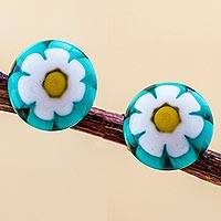 Blown glass flower stud earrings, 'White Chamomile' - Chamomile Blown Glass Studs with 925 Silver Posts