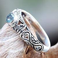 Blue topaz solitaire ring, 'Hearts Connected' - Blue Topaz Artisan Crafted Bali Silver Solitaire Ring