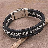 Men's leather accent sterling silver wristband bracelet, 'Bold Weave' - Men's Leather and Sterling Silver Wristband Bracelet