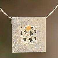 Sterling silver and gold accent pendant necklace, 'Interwoven' - Handmade Modern Sterling Silver Pendant Necklace