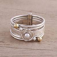 Cultured pearl multi-band ring, 'Metallic Floral' - Cultured Pearl and Sterling Silver Multi Band Ring