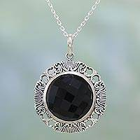 Onyx pendant necklace, 'Romance of the Night' - Fair Trade Black Onyx Pendant Necklace Handmade in India