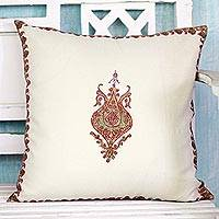 Wool cushion cover, 'Kashmir Majesty' - Wool Kashmiri Hand Embroidered Cushion Cover