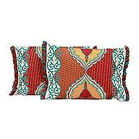Cushion covers, 'Spring Symphony' (pair) - Floral Cushion Covers (Pair)