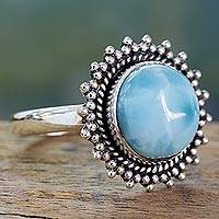 Larimar cocktail ring, 'Sea and Sky' - Classic Larimar Cocktail Ring in Sterling Silver Bezel