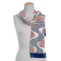 Silk scarf, 'Bengal Waves' - 100% Silk Scarf Red and Blue Wave Patterns from India