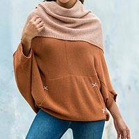 100% alpaca poncho sweater, 'Trujillo Brown' - Alpaca Wool Pullover Sweater from Peru