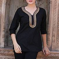 Cotton tunic, 'Sumptuous Ebony' - Black Cotton Indian Tunic with Bright Abstract Embroidery