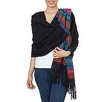 Zapotec cotton rebozo shawl, 'Zapotec Night Blues' - Handwoven Black Zapotec Rebozo Shawl with Multicolor Motifs