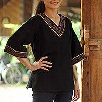 Cotton tunic, 'Casual Ebony' - Hand Made Black Cotton Blouse