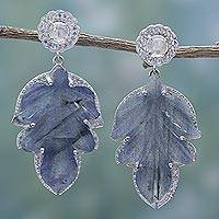 Labradorite dangle earrings, 'Leaves of Winter' - Handmade Labradorite Leaf Dangle Earrings from India