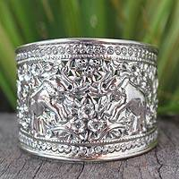 Sterling silver cuff bracelet, 'Elephant Roses' - Hand Made Sterling Silver Cuff Bracelet