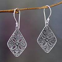 Sterling silver dangle earrings, 'Four Petals' - Floral Sterling Silver Dangle Earrings