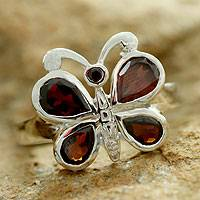Garnet cocktail ring, 'Scarlet Butterfly' - Garnet on Sterling Silver Cocktail Ring from India Jewelry