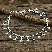 Sterling silver anklet, 'Night Sky' - Sterling Silver Anklet with Star and Moon Charms
