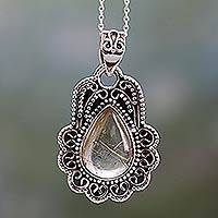 Rutile quartz pendant necklace, 'Traces of Gold' - Rutilated Quartz Pendant Necklace in Ornate Silver Setting