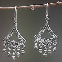 Sterling silver chandelier earrings, 'Flying Kite' - Sterling Silver Kite Earrings Handmade in Indonesia