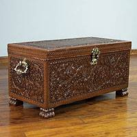 Cedar and leather chest, 'Colonial Days' - Cedar and leather chest