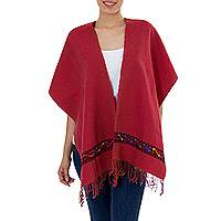 Cotton rebozo shawl, 'Mountain Roses' - Burgundy Cotton Shawl Mexican Rebozo Woven by Hand