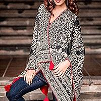100% alpaca ruana cloak, 'Floral Shadows' - Black And White 100% Alpaca Wool Ruana with Red Accents