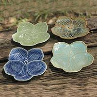 Celadon ceramic plates, 'Orchids' (set of 4) - Celadon Ceramic Dessert Plates (Set of 4)