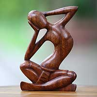 Wood sculpture, 'How Do I Look?' - Thought and Meditation Wood Sculpture