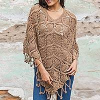 100% alpaca poncho, 'Andean Rhapsody' - Peruvian 100% Alpaca Poncho Crocheted by Hand in Brown