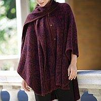 Reversible alpaca blend ruana, 'Peruvian Wildflower' - Alpaca Blend Wine and Purple Ruana with Scarf