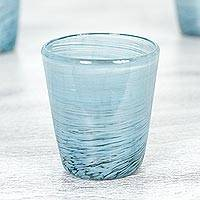 Blown glass rock glasses, 'Aquamarine Centrifuge' (set of 6) - Mexican Aquamarine 8 oz Rock Glasses Hand Blown Set of 6