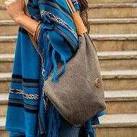 Leather accent cotton backpack bag, 'Arequipa Style' - Leather Accent Brown Cotton Backpack Purse from Peru