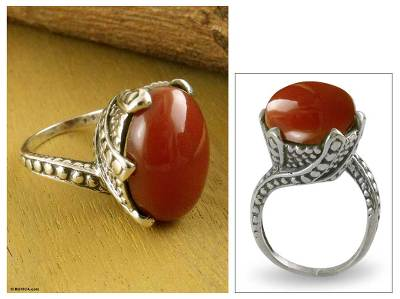 Onyx solitaire ring, 'Crimson Sunset' - Hand Made Sterling Silver Single Stone Onyx Ring