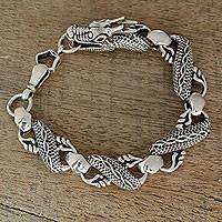 Men's sterling silver link bracelet, 'Mystic Dragon' (8.5 inch) - Dragon Themed Sterling Silver Link Bracelet (8.5 In)