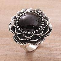 Onyx cocktail ring, 'Midnight Lotus' - Handmade Onyx and Sterling Silver Cocktail Ring