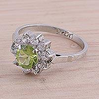 Rhodium plated peridot cocktail ring, 'Verdant Glimmer' - Sparkling Peridot Cocktail Ring from India