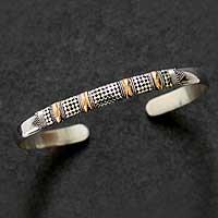 Gold plated cuff bracelet, 'Amaranth' (Indonesia)