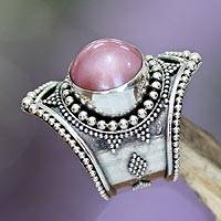 Pearl cocktail ring, 'Glowing Rose' - Pearl cocktail ring